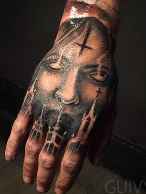 Guivy / ART FOR SINNERS / Geneva #hand #handtattoo #tattoo #guivy #geneve #geneva #tattoosleeve #tatouage #tatoueur #tatoueuse #meilleur #modele #main #church #sinner #religious #dark