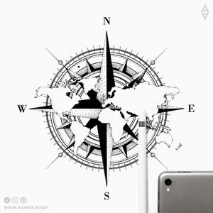 That good old compass, never boring, always true and legit. More like this on Instagram (the_rawflow) or at www.rawaf.shop 👍 #dotwork #blackwork #geometric #black #compass #blackonly #travel #world #worldmap
