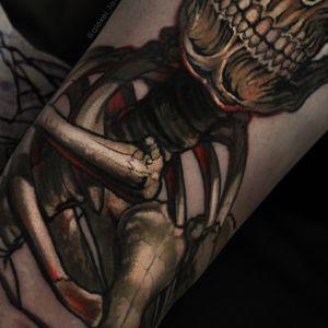 The colorful tattoo skull by tattoo artist Alexei Mikhailov realistic tattoos #tattooskull #tattoodetail #tattoocolorful #tattoorealistic #tattoos #skull