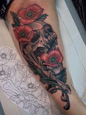 #neotraditional #newtraditional #illustrative #color #skulltattoo #flowertattoo