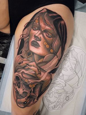 #neotraditional #newtraditional #illustrative #color #girltattoo #skulltattoo #witchtattoo #witch