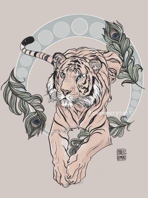 Tattoo design inspired by Disney animals available. Don't copy. For more: Instagram, @rosemarytatt @carlaromeroillustra #disney #rajah #tiger #color #available #belgium #color #animals