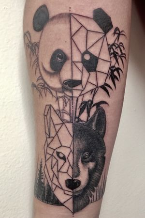 Half gemotric half black and grey panda and wolf