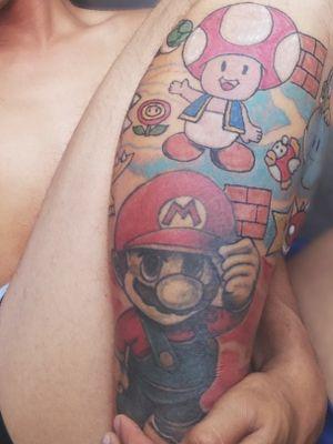 Un tatuaje de Mario brosh ay va en desarrollo #tatooartist #mariobros #nintendolife #mario