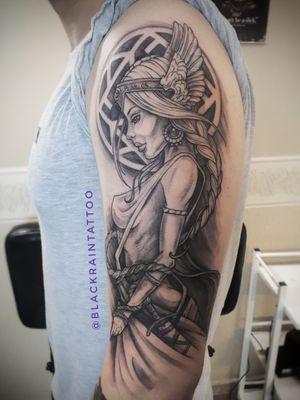 1session 10 hours #Valkyrie #tattoo #tattooodessa #odessa #ukraine #graphictattoo # blacktattoo #tattooinukraine