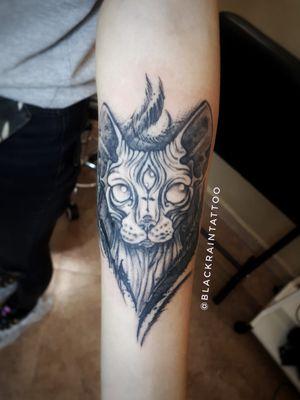 1 session 2 hours #gothic #tattoocat #sphinxcat #blacktattoo #odessa #tattooinodessa #tattooukraine #darktattoo