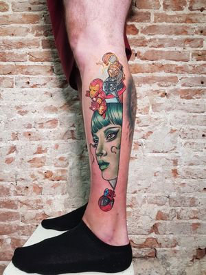 Marvel avengers she-hulk tattoo. Custom kife @jennacoffintattoo