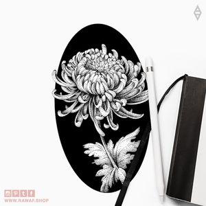 Chrysanthemum. More on Instagram: the_rawflow or web: www.rawaf.shop 🔥 #dotwork #blackwork #flower #chrysanthemum # black #blackonly #blackandgrey #stippling #floral