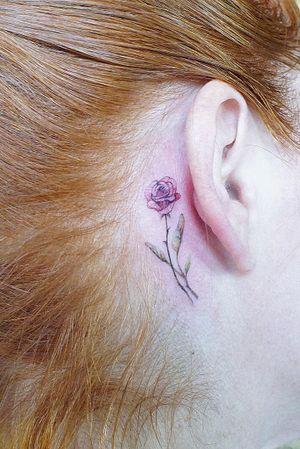 #floraltattoo #fineline #watercolor #color #rose #sage