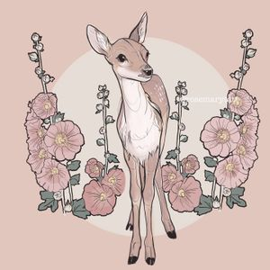 (Please don't copy) New tattoo design inspired in Disney animals, Bambi. Available. #bambi #tattoodesign #available #disney #colorink #ink #floral #botanical #animal #illustration #carlaromero #character #tattoo#tattooapprentice #belgium