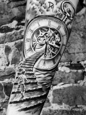 a boy walking to the clock surrealism style tattoo