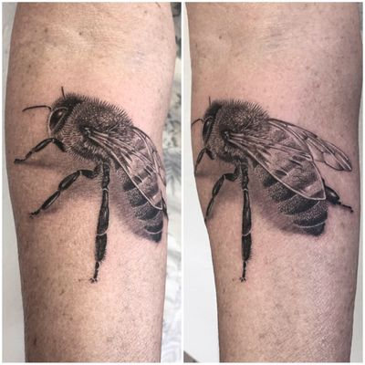 @realistic.ink #photooftheday #tattoooftheday #tattoo #tatouage #realisticink #realistictattoo #realism #realismtattoo #bee #beetattoo #abeille #abeilletattoo #dot #dotwork #dotworktattoo #dottattoo #stippletattoo #stippling #dotworker #petitspoints #blackandwhitetattoo #blackandgreyink #blackandgreyrealism #blackandgrey #lausanne #lausannetattoo #tattoolausanne #fann_ink