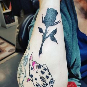 Black work rose addition to client's sleeve all done by me.