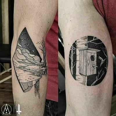 Nº921 #tattoo #tattooed #ink #inked #boywithtattoos #landscapetattoo #geometrictattoo #birdhouse #origami #blackwork #blackworktattoo #bylazlodasilva 🏠 @ghara_studio #gharastudio 🛠️ @boycottproducts #boycottroducts @dynamiccolor #dynamiccolorco @fkirons #fkirons #spektrahalo2 *Based on another artists designs.