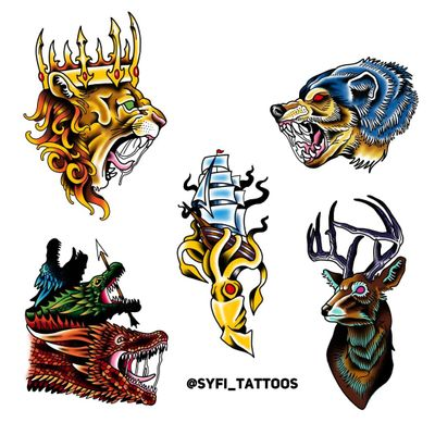 Game of Thrones inspired, what house are you! Available Flash #syfitattoos #gameofthrones #housestark #targaryen #color #traditional #dragons #colorful #neotraditional #brooklyn #nyc