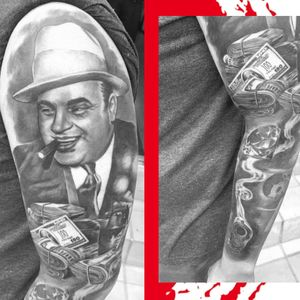 Our lovely guest artist @lilyinksa finished up this outer sleeve on Shevaan as her 1st project here at @kakluckytattoos this week. . . . Al Capone and shoulder are a day old, rock 'n rolla healed and the rest all fresh - 3 sessions in total. . . . #armtattoo #sleeve #outersleeve #alcapone #gangster #mafiatattoo #diamond #silhouette #diamondtattoo #smokinggun #money #moneyrolls #blackandgreytattoo #realistictattoo #guntattoo #rocknrolla #capetown #tattooartist #femaletattooartist #southafricantattoo #kakluckytattoos #420 #capetowntattoos #fridayfeels