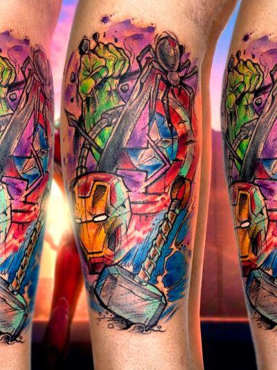 @guilleryan.arttattoo guilleryanarttattoo@gmail.com #hulk #thor #ironman #capitanamerica #viudanegra #hawkeye #avengers #avengersendgame #bcnttt #comictattoos #manga #sketchtattoos #cartoontattoos