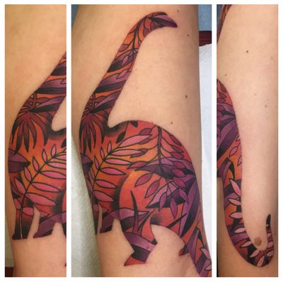 Whoa hey, a color tattoo! #tattoo #brontosaurus #dinosaur #dinosaurtattoo #sunsetcolors
