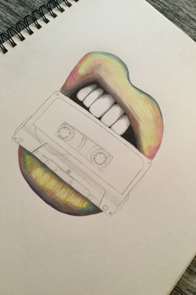 A design I couldn't finish, I gifted my sketch pad to a dear cousin of mine, this one is a favorite though #rainbow #lipstick #cassettetape #biting