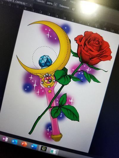 #sailormooncrystal #sailormoon #yegtattoo #yegtattooartist #edmotnon #rosetattoo #rose #redrose