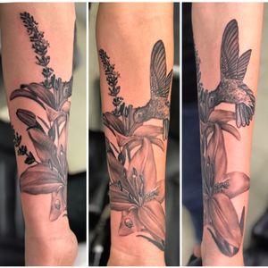 Lilies, lavender, a honey bee, a ladybug, and a hummingbird