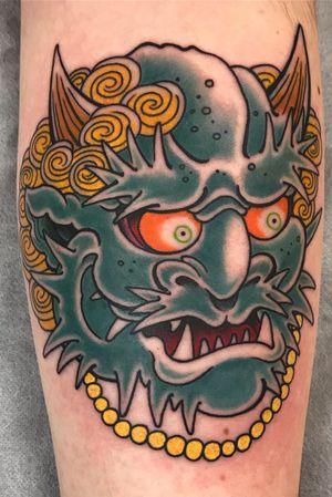 Really fun oni one shot tattoo. #japanese #japanese (irezumi) #irezumi