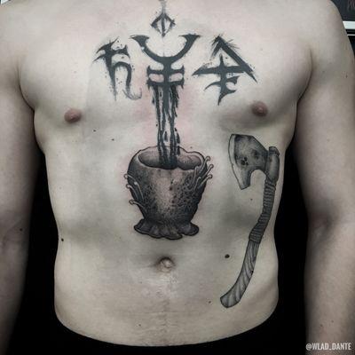 Freehand tattoo. #freehand #freehandtattoo #horror #horrortattoo #dotwork #dotworktattoo #darkart #darktattoos #comichorror #cosmic #bloodborne #bloodbornetattoo