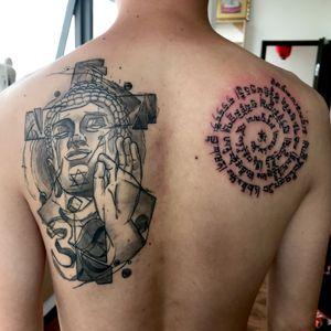 #Buddhism #Black#line#portrait tattoo