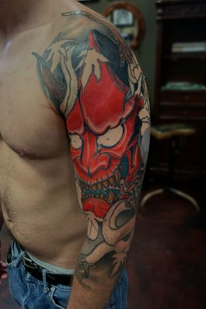 Hannya mask half sleeve, 4 sessions in.