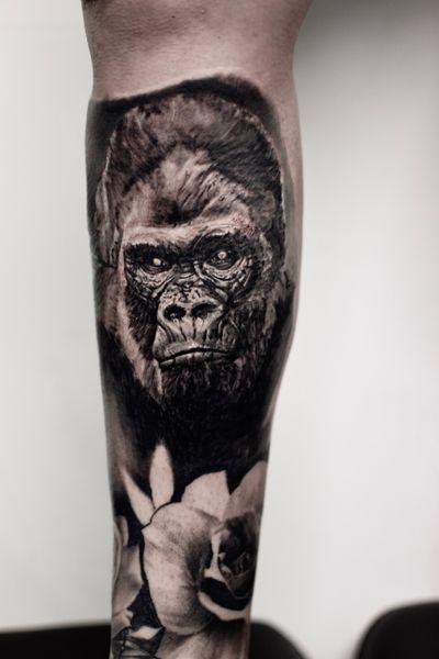 ✖️Gorilla✖️ check my Instagram for more work! @ikb_ink #tattoo #gorilla #gorillatattoo #animal #animals #animaltattoo #realistic #blackandgrey