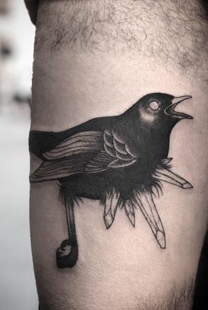 Black Thrush with Crystals