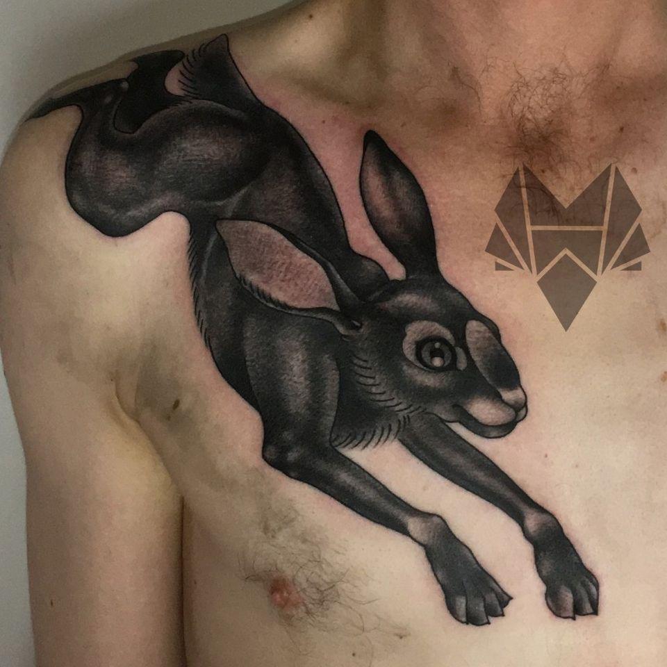 Jack Rabbit tattoo - Tattoo by Hannah Wolf #HannahWolf