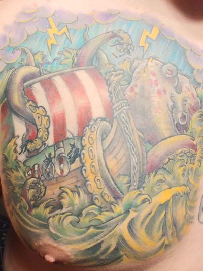 The Kraken! #vikingtattoo #creature #sailor #kraken #coloredtattoo #norse