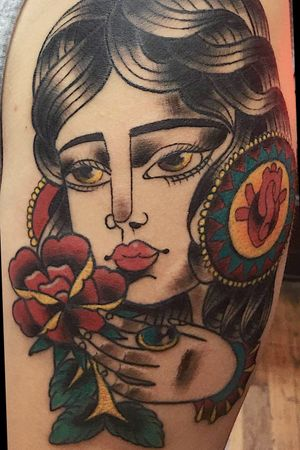 Little rose lady that I rocked! Original design by me! I love to do American traditional! Contact me to set something up!