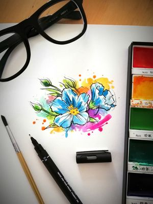 Design Taken @guilleryan.arttattoo guilleryanarttattoo@gmail.com #flowertattoo #watercolordesigns #handmadeart #animetattoos #cartoontattoos #watercolortattoo #geektattoos #frikitattoos