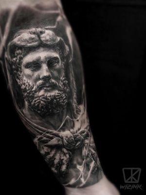 Hercules statue Black and Grey