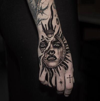 Sun hand tattoo by Cristian Casas #CristianCasas #sun #hand #neotraditional #portrait #goddess #deity #vampire Done at @der_grimm_tattoo on @melissascrooge