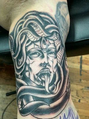 Medusa, I love to do traditional and neotraditional tattoos! Book with me today!
