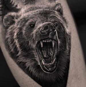 Rrr 🐾 done with @inkjecta and @quantumtattooinks, support @tattoodo #tattoodoambassador #bear #beartattoo #msktattoo #blackandgray #angrybear #татумедведь #медведь #мсктату #москватату