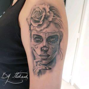 Tattoo du jour 1ere session catrina by Thedoud Cissé @prilaga #tattoosleeve #tattoo #tattoo2me #tattoostudio #tattoostyle #tattoosofinstagram #tattooworkers #tattooing #tattooist #tattoos #tattoooftheday #tattoolife #tattoomodel #tattooed #tattoodo #tattooer #tattooink #tattoodesign #prilaga #tattooartist #tattooflash #tattoolove #tattooart
