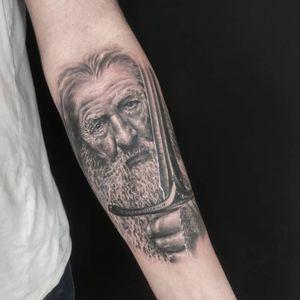 Gandalf portrait tattoo #portrait #tattoo #armtattoo #realism #realistic