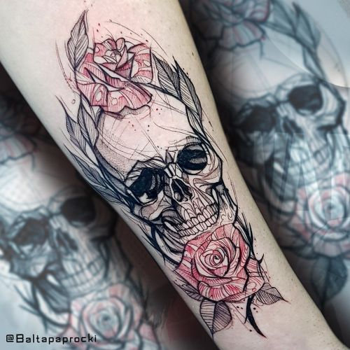 skull sketch #tattoosketch #sketch #skull #rose