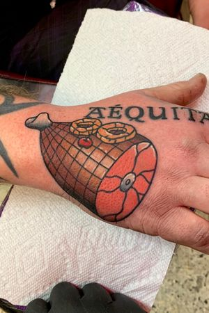 Color Traditional ham hand tattoo. Topped off with a lil pineapple and cherry with a nice glaze