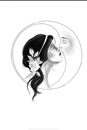 Woman and moon tattoo idea