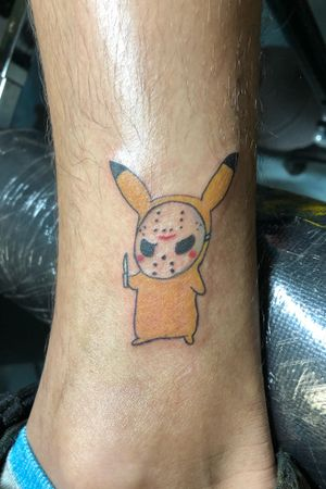 Friday 13th banger #Pikachu #pikachutattoo #pokemontattoo #colortattoo #houstontattooartist