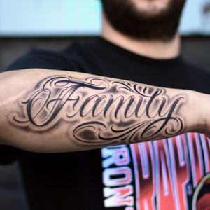 Family freehand forearm #lettering #blackandgrey
