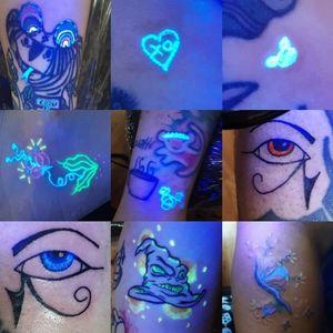 Vegan UV blacklight tattoos #vegan #blacklight #glow #uv #freehand