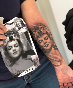 Sometimes I get old portraits that are to unclear to create a high quality #tattooportrait so I find a similar face of a high quality photograph in this case I took a photo of Marilyn Munro and photoshopped her features to look more like Natasha's grandmah then copied the shading of the original portrait when executing the tattoo. #portrait #tattoo #memories #grandma @garageinkmanor @swashdrive_tattoo_official @metrixneedles @tattoodo @aftercareh2ocean @starbritecolors @tommyssupplies @tacsciences @z00tatt00 #beauty #fullsleeve #blackandgrey #family #life #wonder #gratitude #appreciation #beyondourskin #garageinkmanor #starbright #heart #sleeve hey