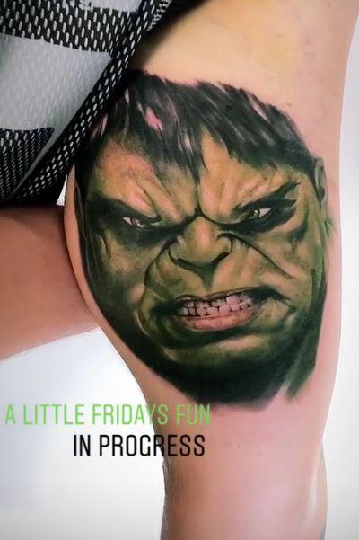 The Hulk! #marvel #avengers #Hulk #theHulk #tattooartist #tattooart #color #sleeve #green