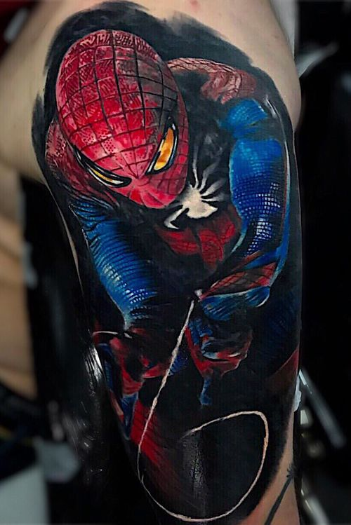 Spider-Man — colour project done in 2 sessions #colourtattoo #colortattoo #spiderman #realistic #realism #realistictattoo #london #londontattoo #oldlondonroadtattoos #simonecamilloni #ink #inked #inkedup #inkaddict